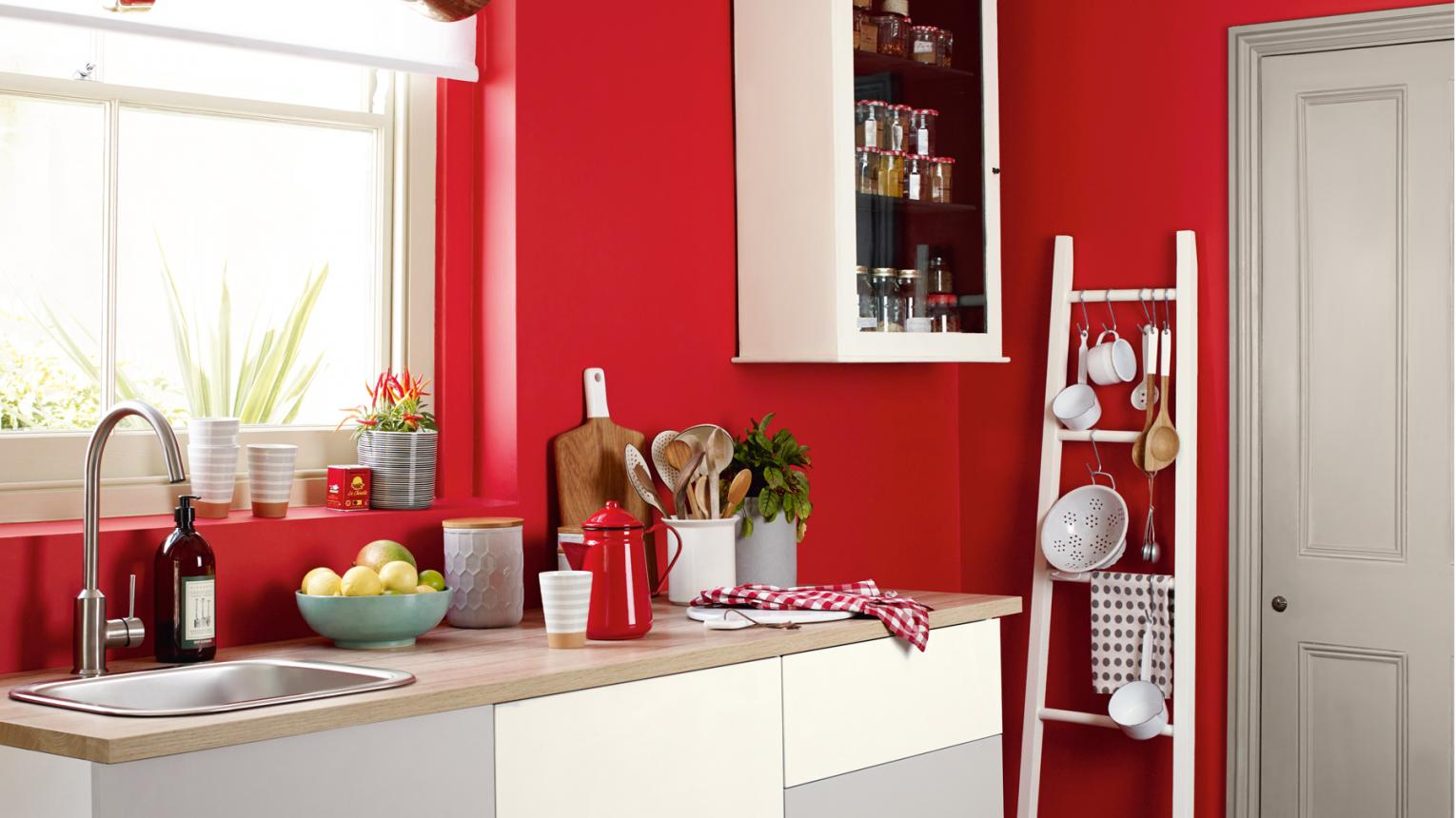 red kitchen with ladder