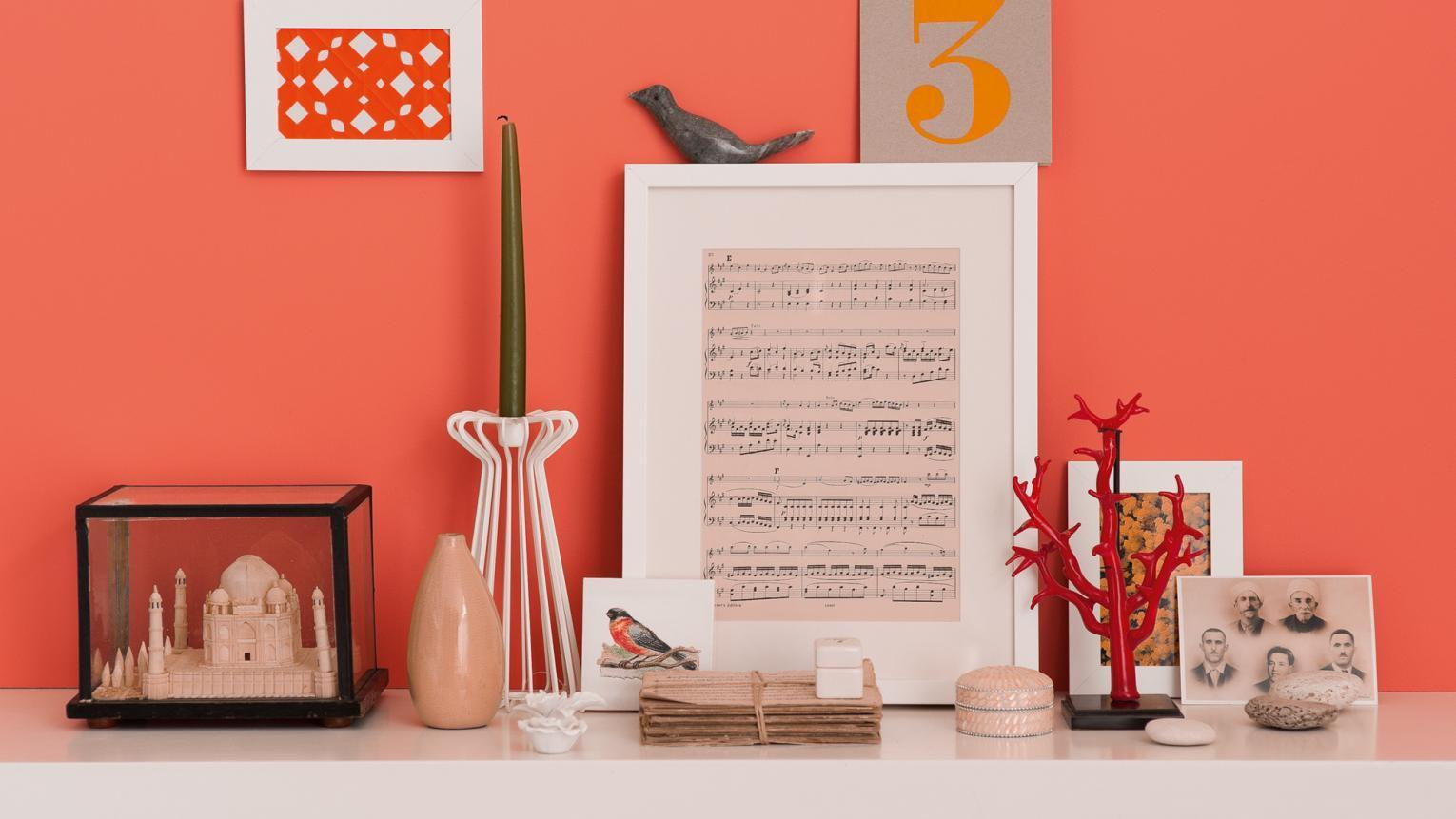 orange wall with accessories