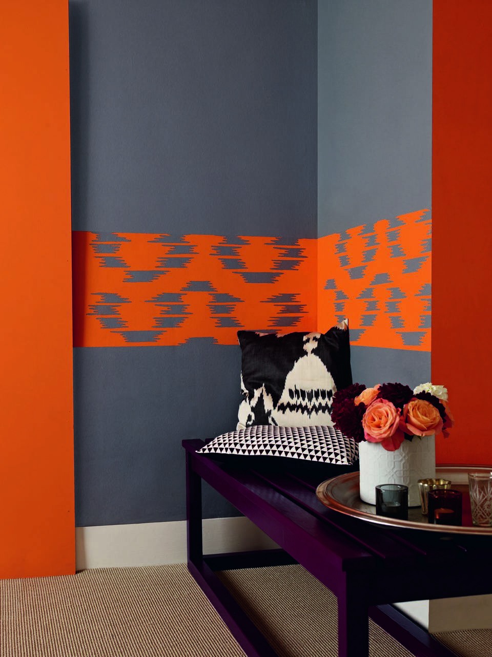 Gray with orange in the living room